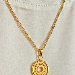 """Rich Black Woman Couture """" 18K Gold Crypto Coin"""" Signature Necklace"""